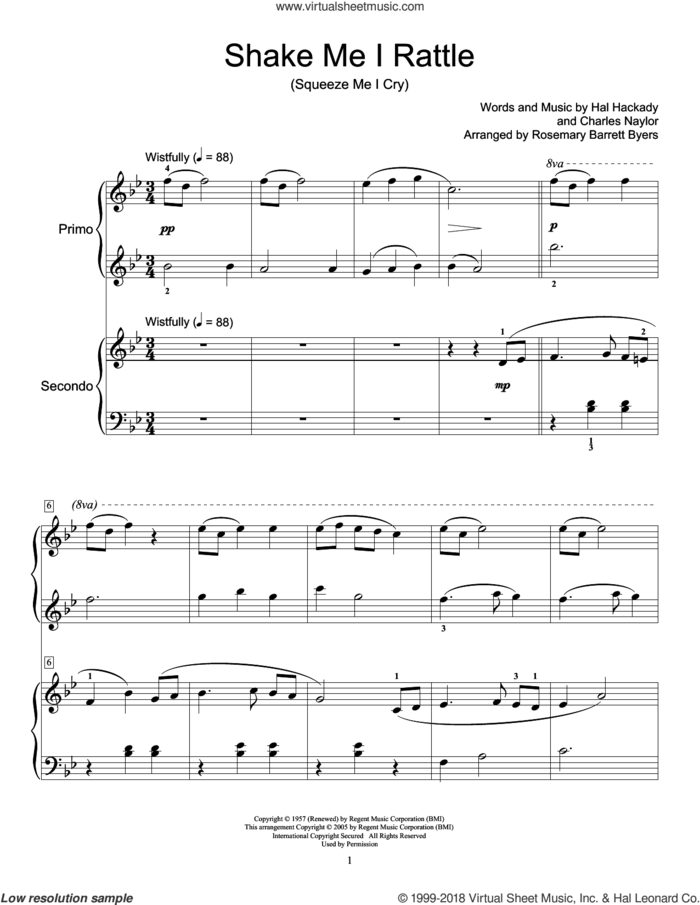 Shake Me I Rattle (Squeeze Me I Cry) sheet music for piano four hands by Marion Worth, Miscellaneous, Charles Naylor and Hal Clayton Hackady, intermediate skill level