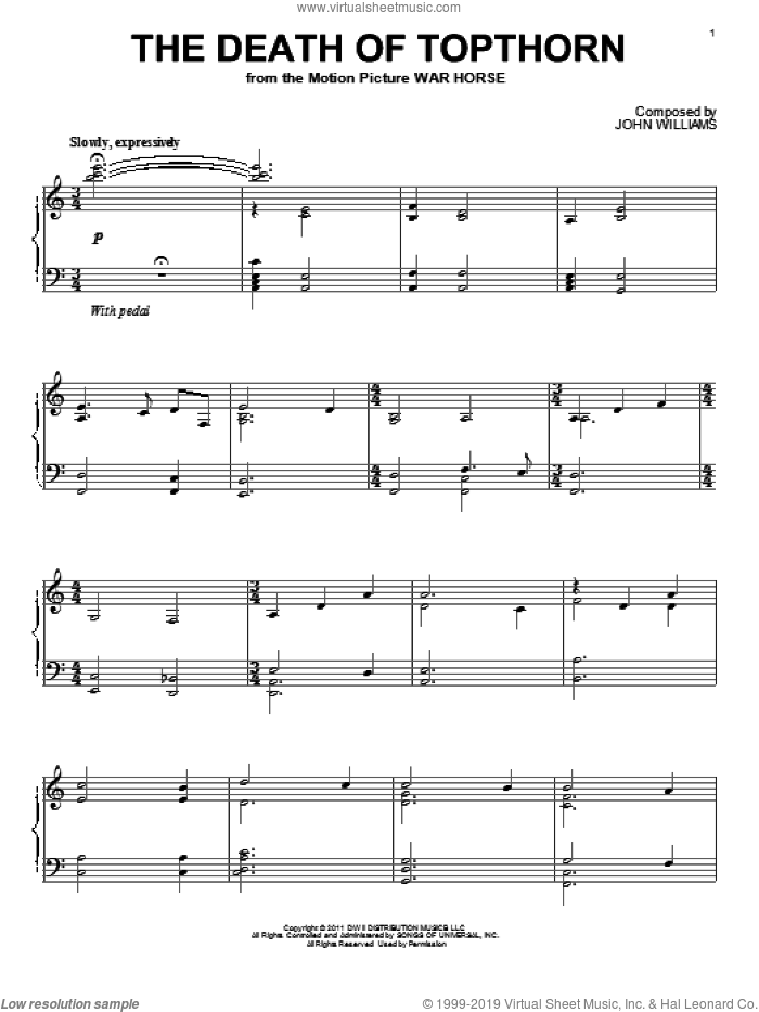 The Death Of Topthorn sheet music for piano solo by John Williams and War Horse (Movie), intermediate skill level