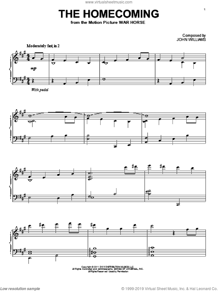 The Homecoming sheet music for piano solo by John Williams and War Horse (Movie), intermediate skill level