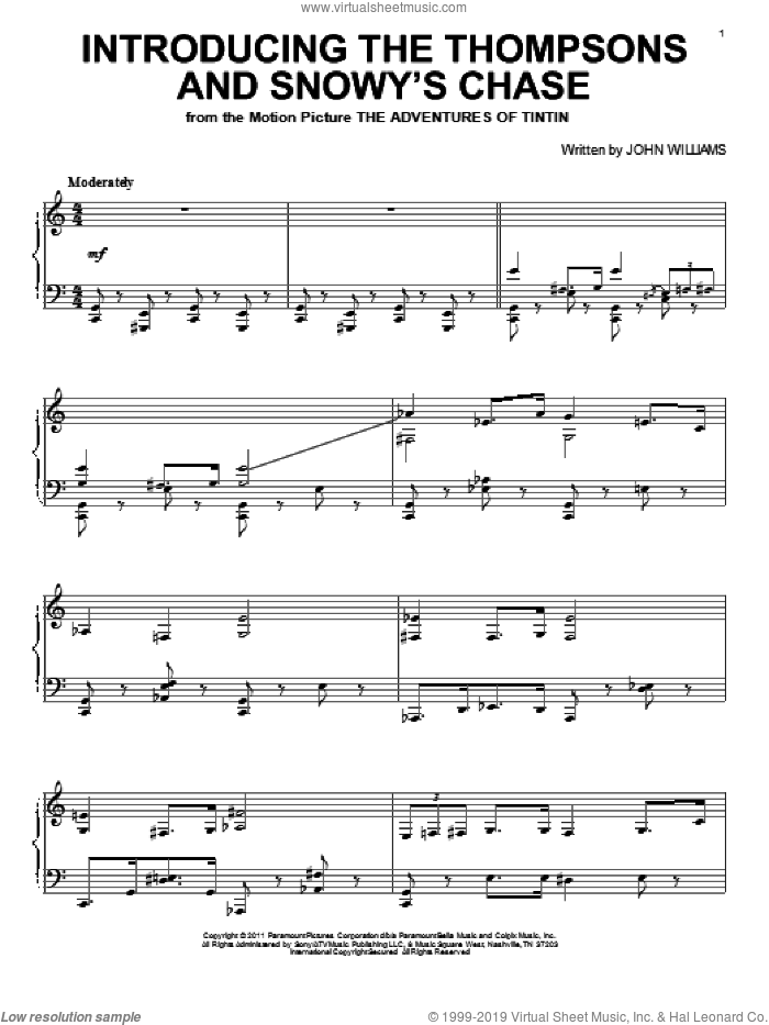 Introducing The Thompsons And Snowy's Chase sheet music for piano solo by John Williams and The Adventures Of Tintin (Movie), intermediate skill level