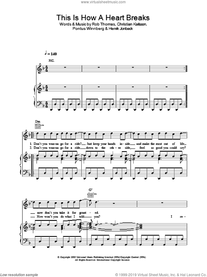 This Is How A Heart Breaks sheet music for voice, piano or guitar by Rob Thomas, Christian Karlsson, Henrik Jonback and Pontus Winnberg, intermediate skill level