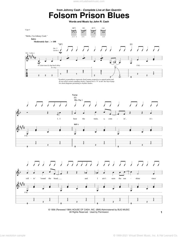 Folsom Prison Blues sheet music for guitar (tablature) by Johnny Cash, intermediate skill level