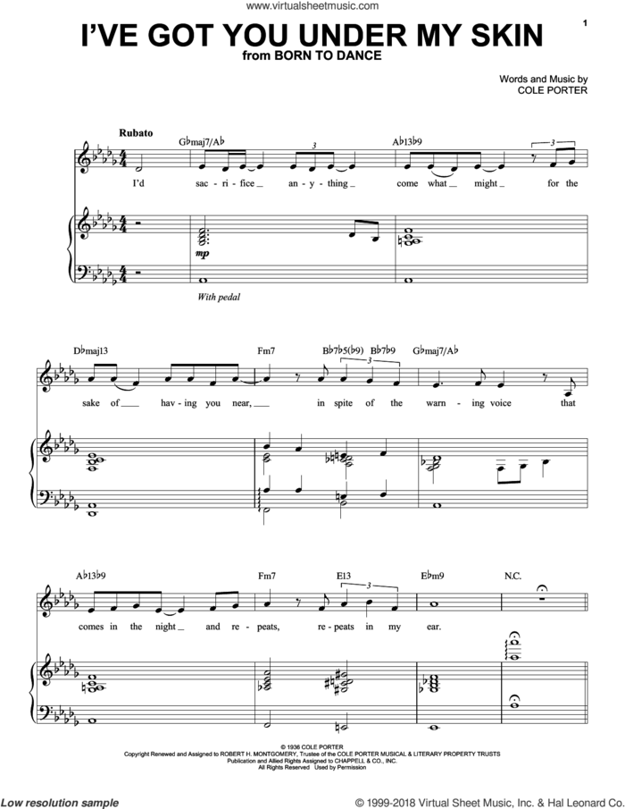 I've Got You Under My Skin sheet music for voice, piano or guitar by Landau Eugene Murphy, Jr. and Cole Porter, intermediate skill level