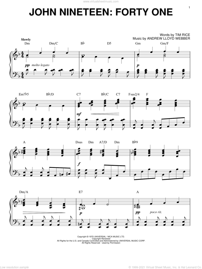 John Nineteen: Forty One sheet music for piano solo by Andrew Lloyd Webber, Jesus Christ Superstar (Musical) and Tim Rice, intermediate skill level