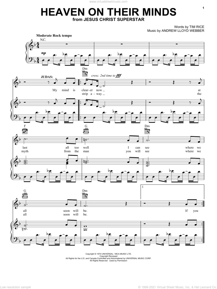 Heaven On Their Minds sheet music for voice, piano or guitar by Andrew Lloyd Webber, Jesus Christ Superstar (Musical) and Tim Rice, intermediate skill level