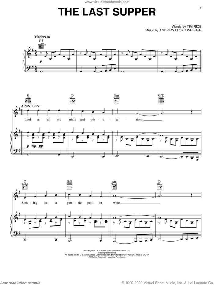 The Last Supper sheet music for voice, piano or guitar by Andrew Lloyd Webber, Jesus Christ Superstar (Musical) and Tim Rice, intermediate skill level