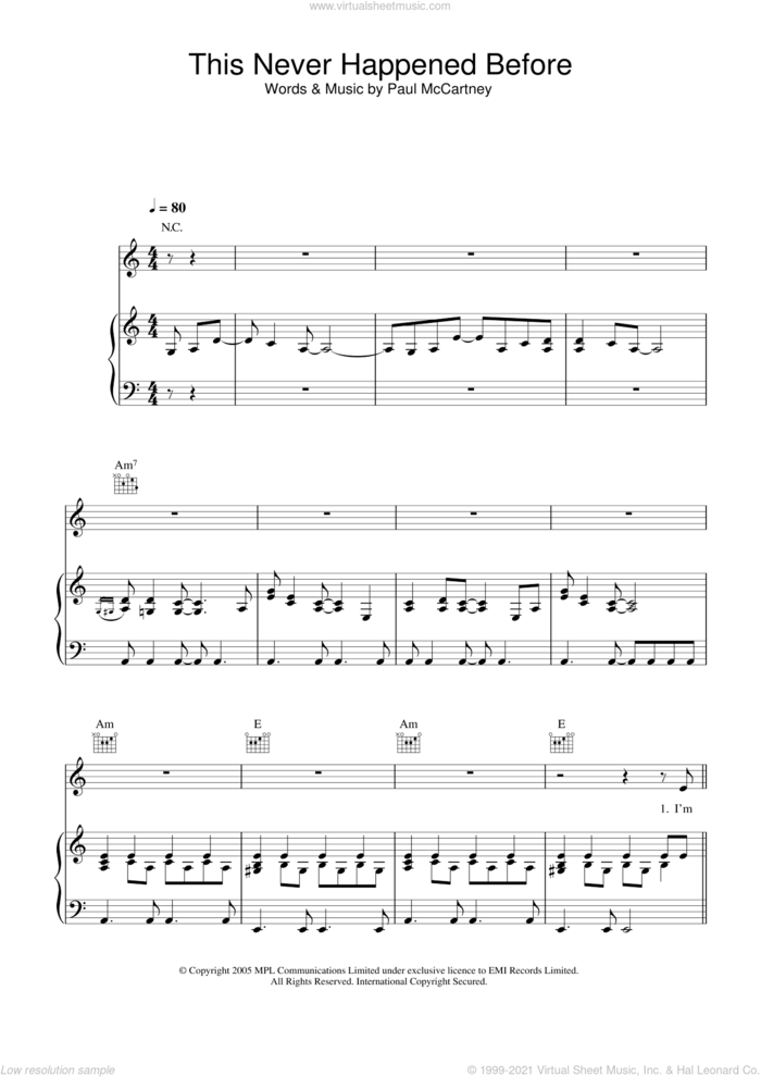 This Never Happened Before sheet music for voice, piano or guitar by Paul McCartney, intermediate skill level
