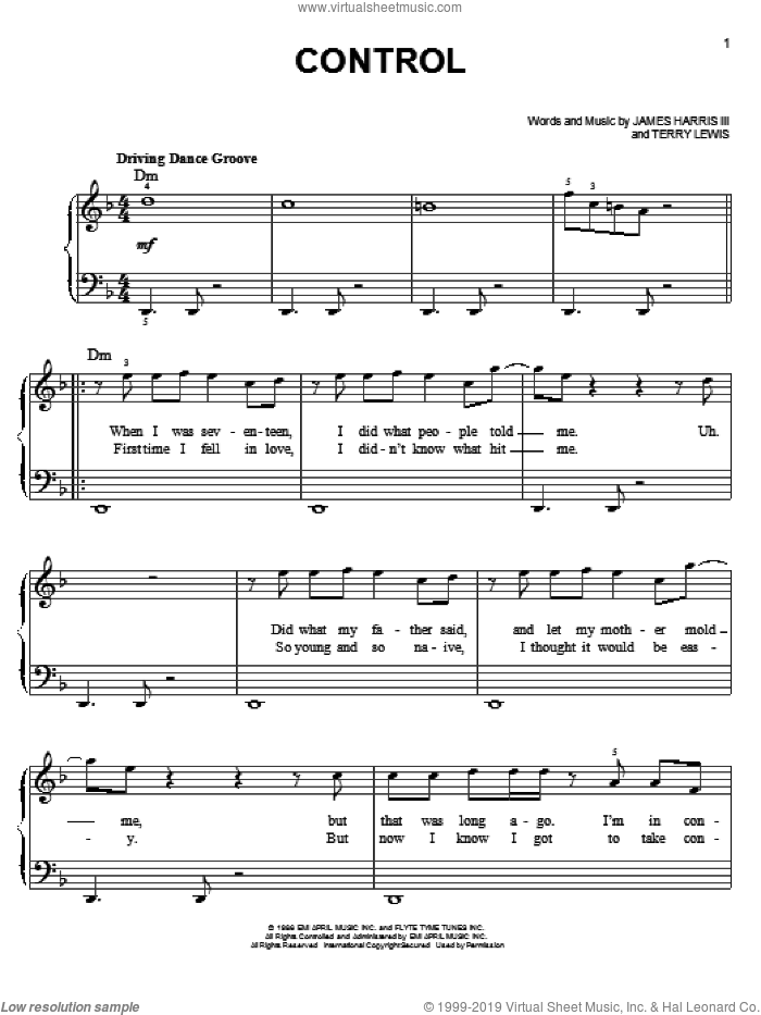 Control sheet music for piano solo by Glee Cast, Glee Cast (TV Series), Janet Jackson, James Harris and Terry Lewis, easy skill level