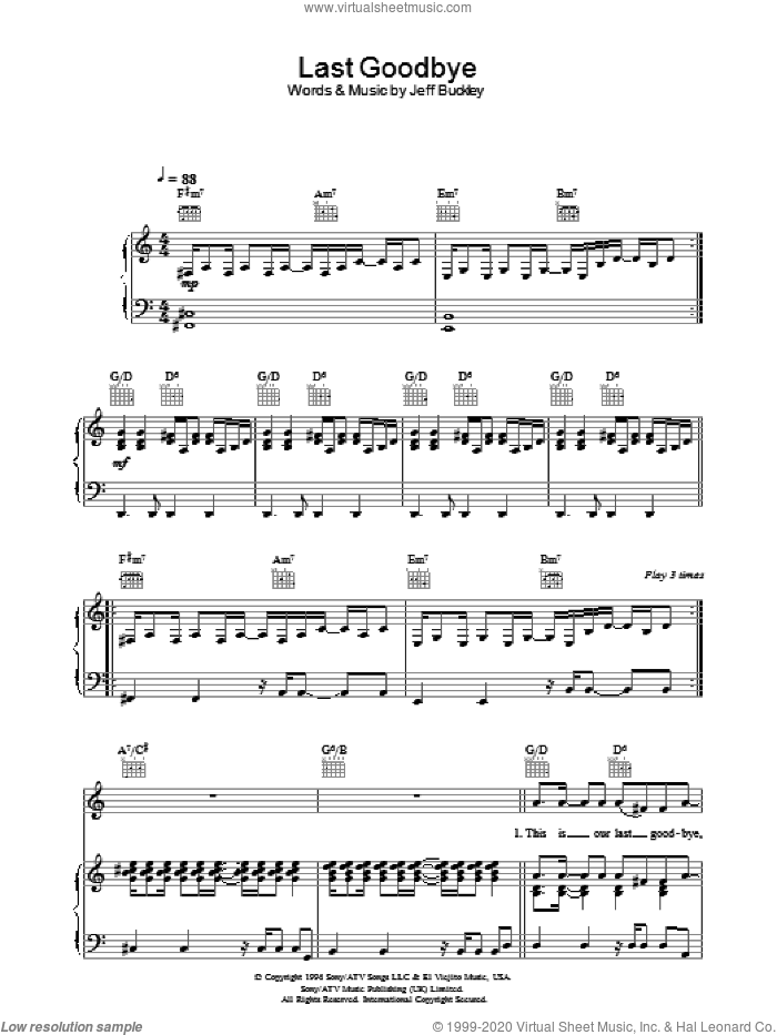 Last Goodbye sheet music for voice, piano or guitar by Jeff Buckley, intermediate skill level