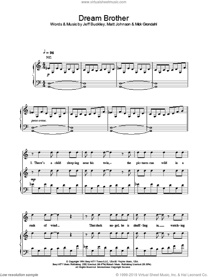 Dream Brother sheet music for voice, piano or guitar by Jeff Buckley, Matt Johnson and Mick Grondahl, intermediate skill level