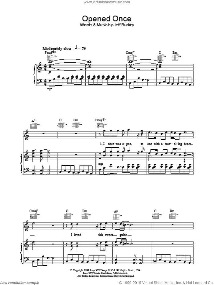 Opened Once sheet music for voice, piano or guitar by Jeff Buckley, intermediate skill level