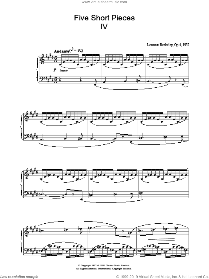 Five Short Pieces, No. 4, Op. 4 sheet music for piano solo by Lennox Berkeley, classical score, intermediate skill level