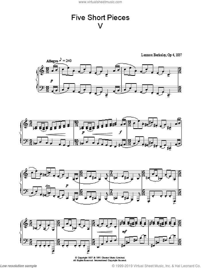 Five Short Pieces, No. 5, Op. 4 sheet music for piano solo by Lennox Berkeley, classical score, intermediate skill level