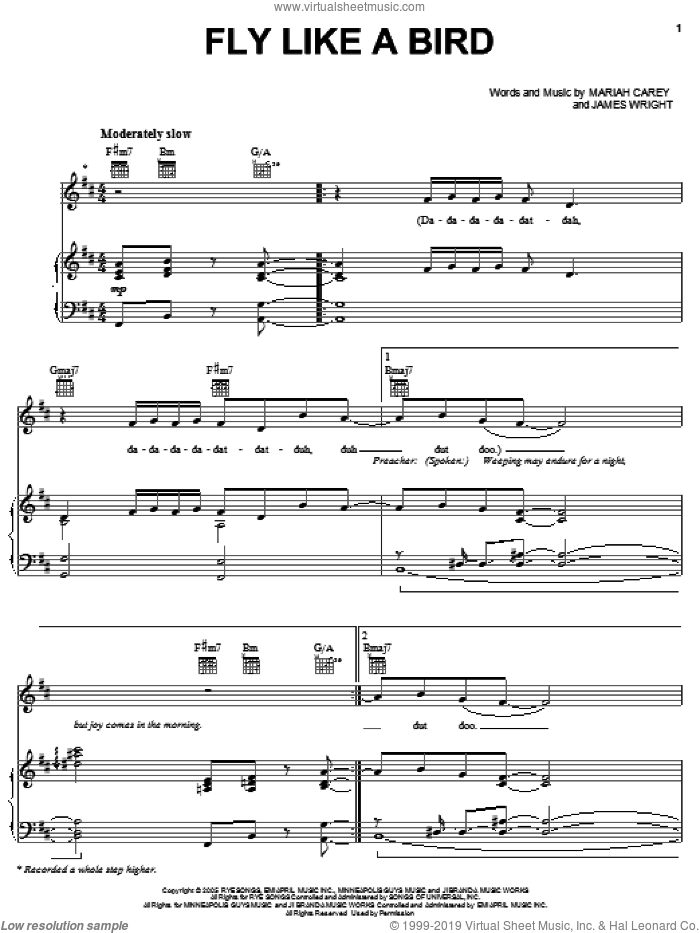 Fly Like A Bird sheet music for voice, piano or guitar by Mariah Carey and James Wright, intermediate skill level