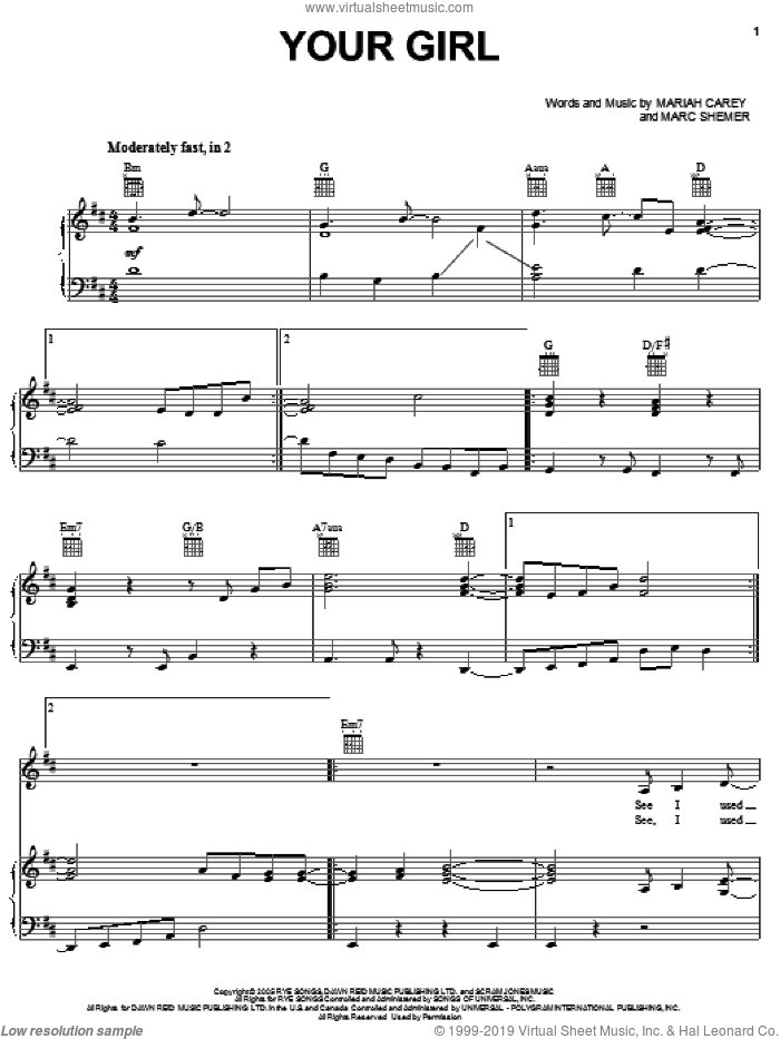 Your Girl sheet music for voice, piano or guitar by Mariah Carey and Marc Shemer, intermediate skill level