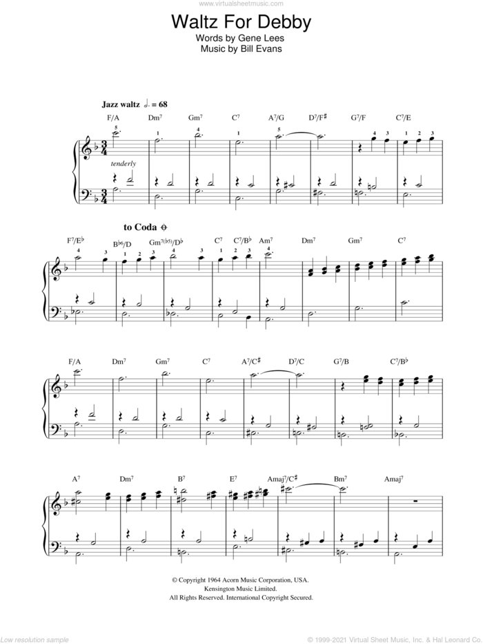 Waltz For Debby sheet music for voice, piano or guitar by Bill Evans and Eugene John Lees, intermediate skill level