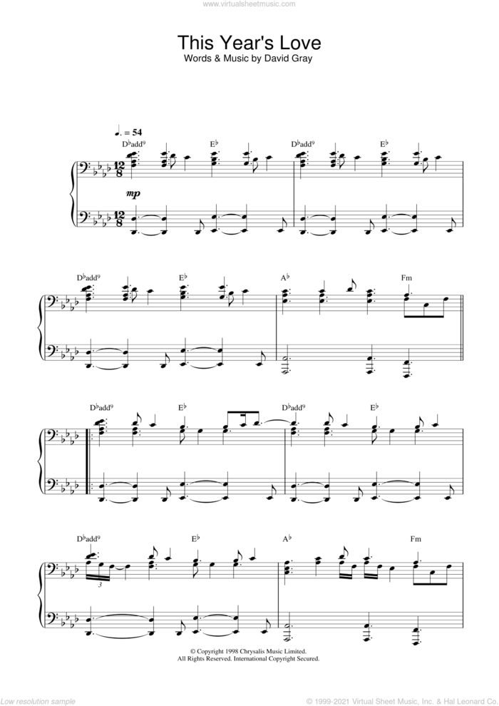 This Year's Love sheet music for piano solo by David Gray, intermediate skill level