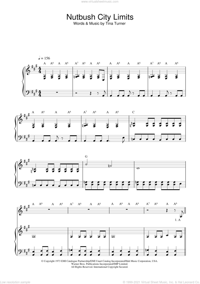 Nutbush City Limits sheet music for voice and piano by Ike & Tina Turner and Tina Turner, intermediate skill level
