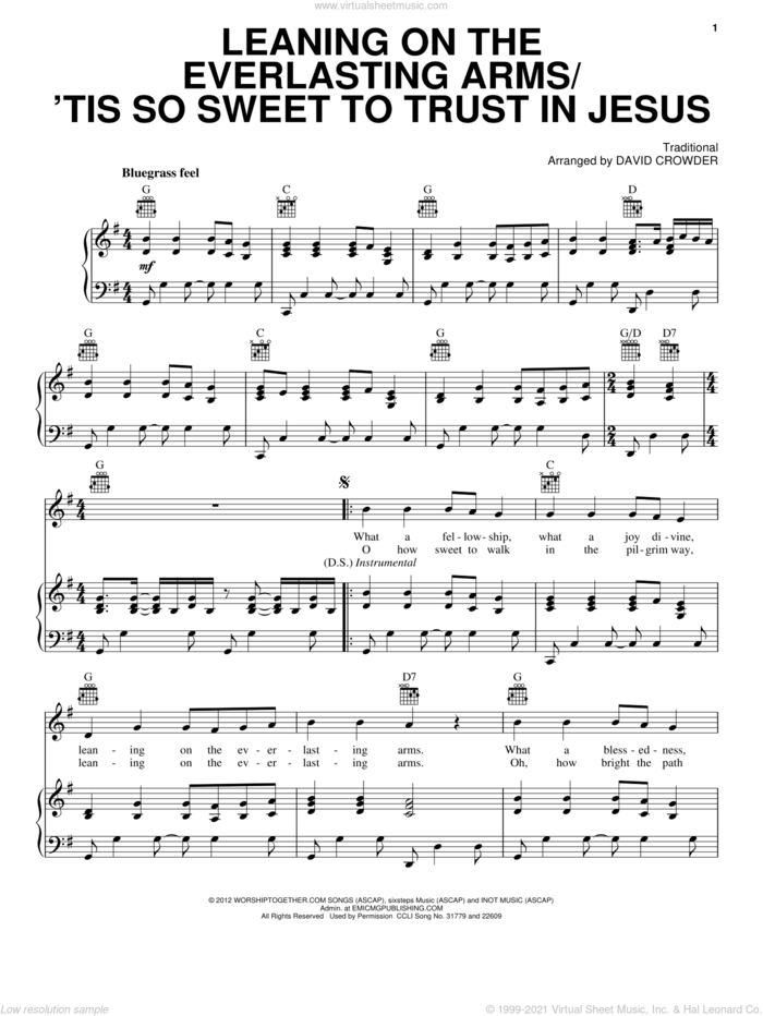 Leaning On The Everlasting Arms / 'Tis So Sweet To Trust In Jesus sheet music for voice, piano or guitar by David Crowder Band and Miscellaneous, intermediate skill level