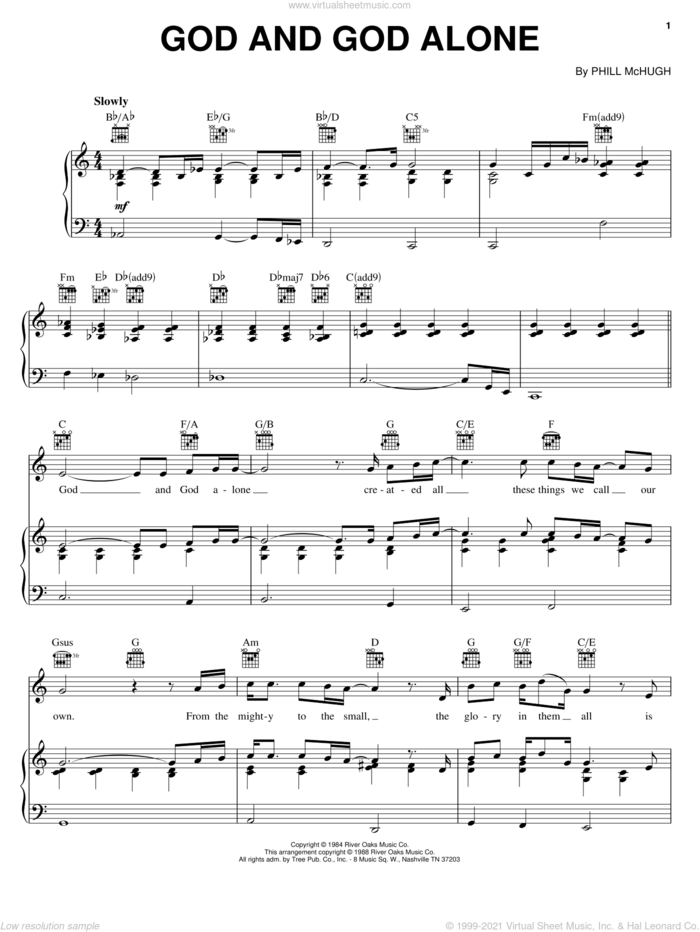 God And God Alone sheet music for voice, piano or guitar by Steve Green, Daryl Coley and Phill McHugh, intermediate skill level