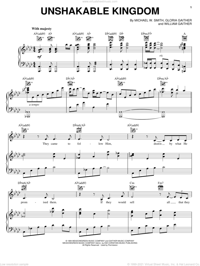 Unshakable Kingdom sheet music for voice, piano or guitar by Michael W. Smith, Gloria Gaither and William Gaither, intermediate skill level