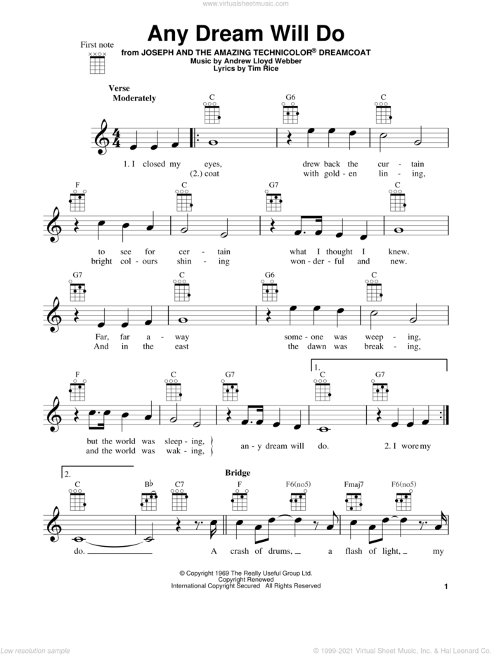 Any Dream Will Do (from Joseph and the Amazing Technicolor Dreamcoat) sheet music for ukulele by Andrew Lloyd Webber, Joseph And The Amazing Technicolor Dreamcoat (Musical) and Tim Rice, intermediate skill level