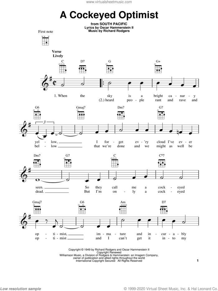 A Cockeyed Optimist sheet music for ukulele by Rodgers & Hammerstein, South Pacific (Musical), Oscar II Hammerstein and Richard Rodgers, intermediate skill level