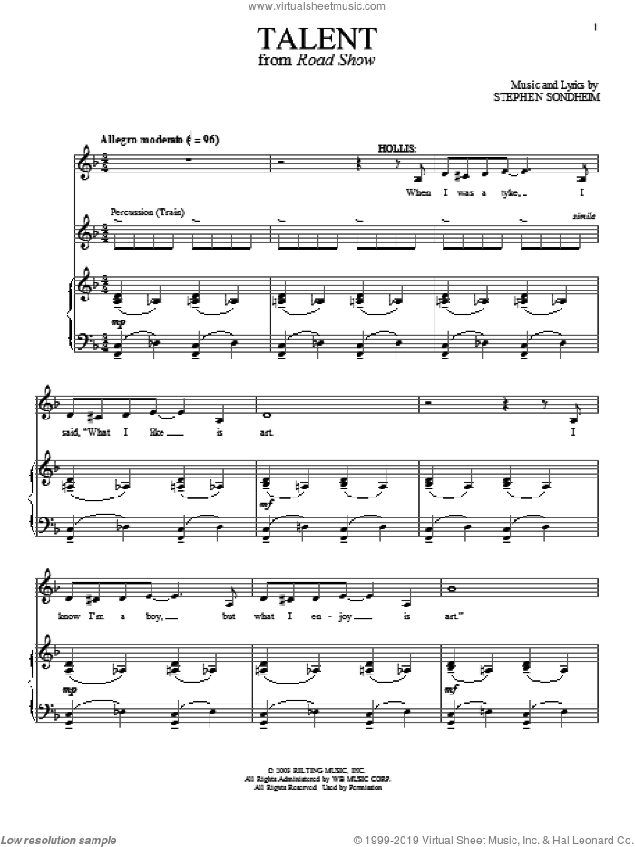 Talent sheet music for voice and piano by Stephen Sondheim and Road Show (Musical), intermediate skill level