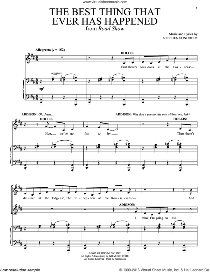 The Best Thing That Ever Has Happened sheet music for voice and piano by Stephen Sondheim and Road Show (Musical), intermediate skill level