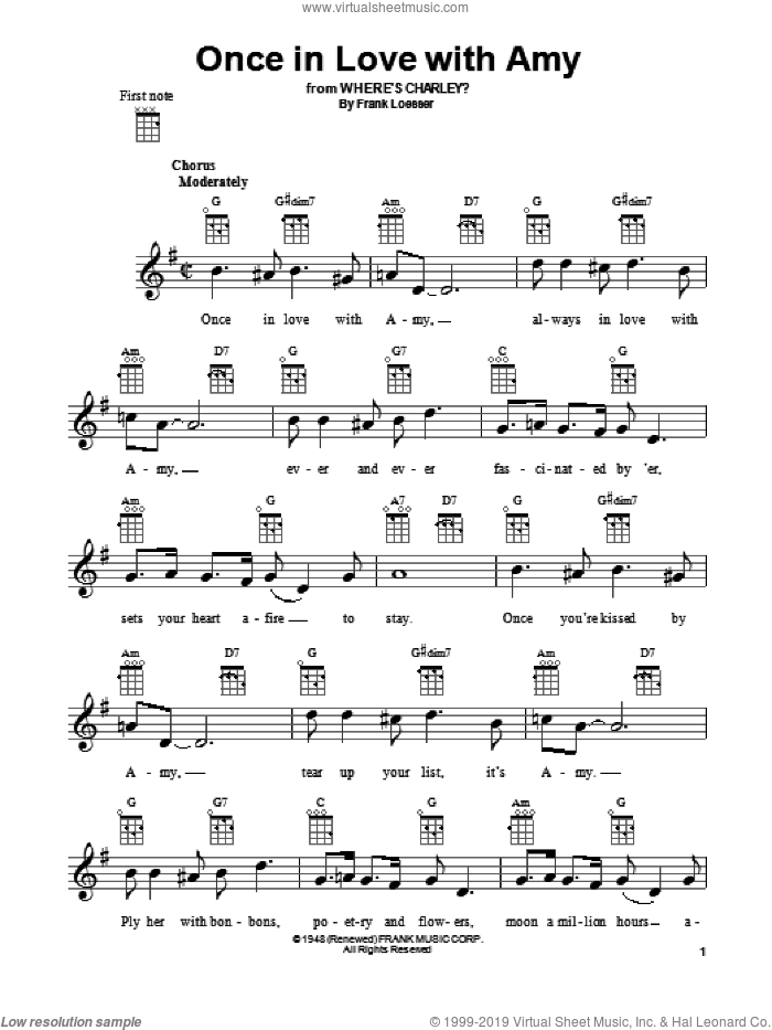 Once In Love With Amy sheet music for ukulele by Frank Loesser, intermediate skill level