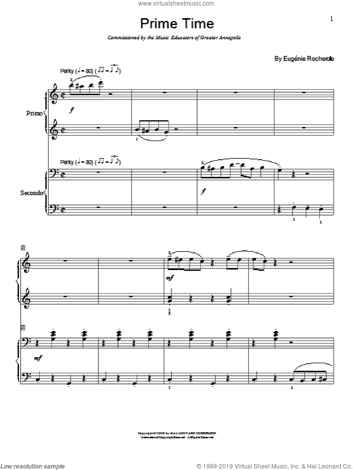 Prime Time sheet music for piano four hands by Wendy Stevens, Phillip Keveren, Sondra Clark and Eugenie Rocherolle, intermediate skill level