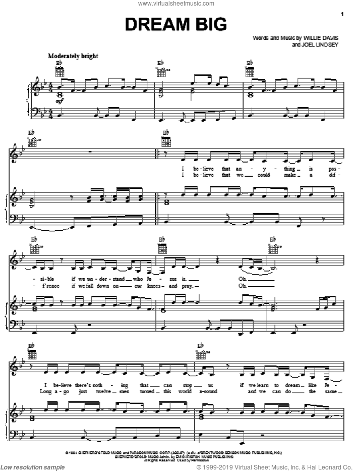 Dream Big sheet music for voice, piano or guitar by The Martins, Joel Lindsey and Willie Davis, intermediate skill level