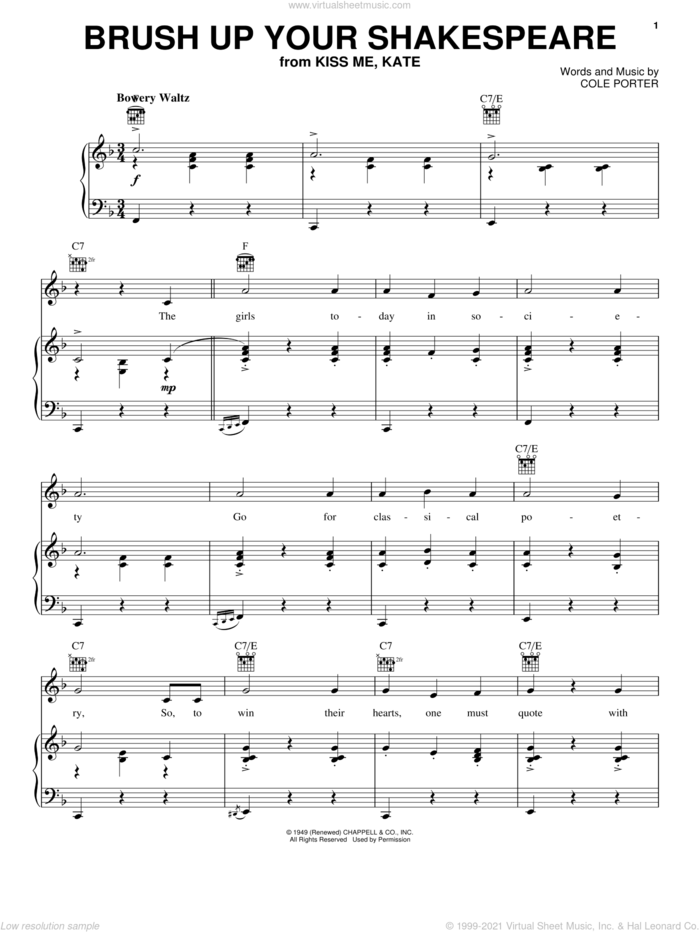Brush Up Your Shakespeare (from Kiss Me, Kate) sheet music for voice, piano or guitar by Cole Porter and Kiss Me, Kate (Musical), intermediate skill level