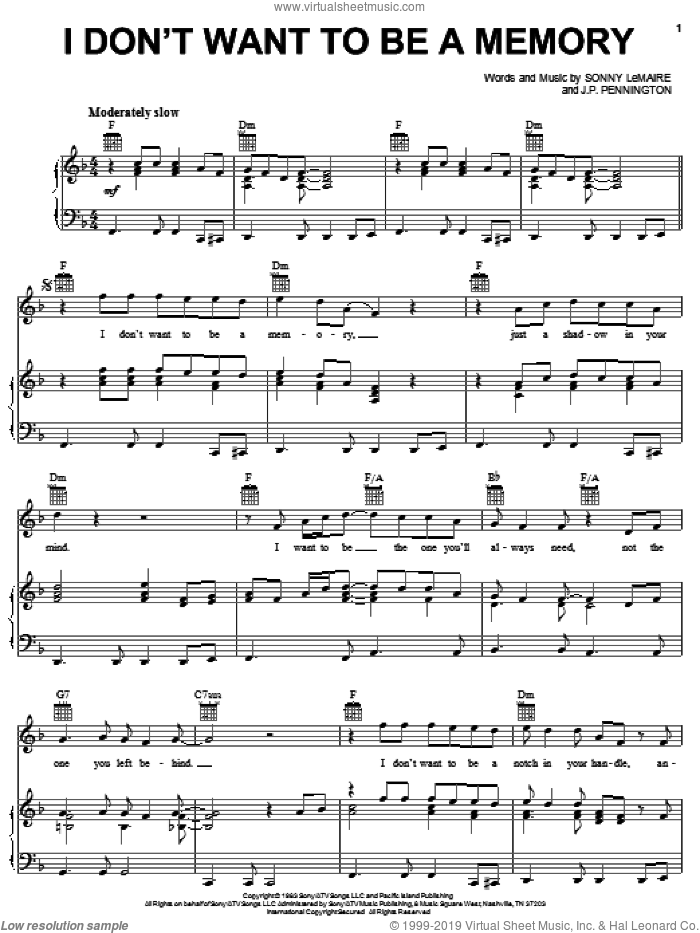 I Don't Want To Be A Memory sheet music for voice, piano or guitar by Exile, J.P. Pennington and Sonny LeMaire, intermediate skill level