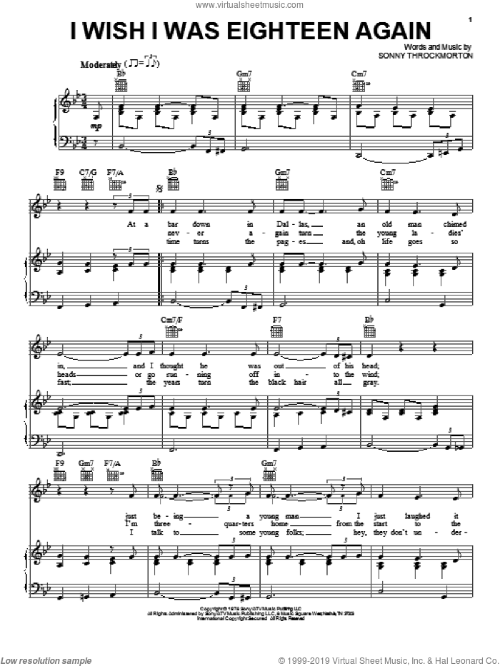 I Wish I Was Eighteen Again sheet music for voice, piano or guitar by George Burns and Sonny Throckmorton, intermediate skill level