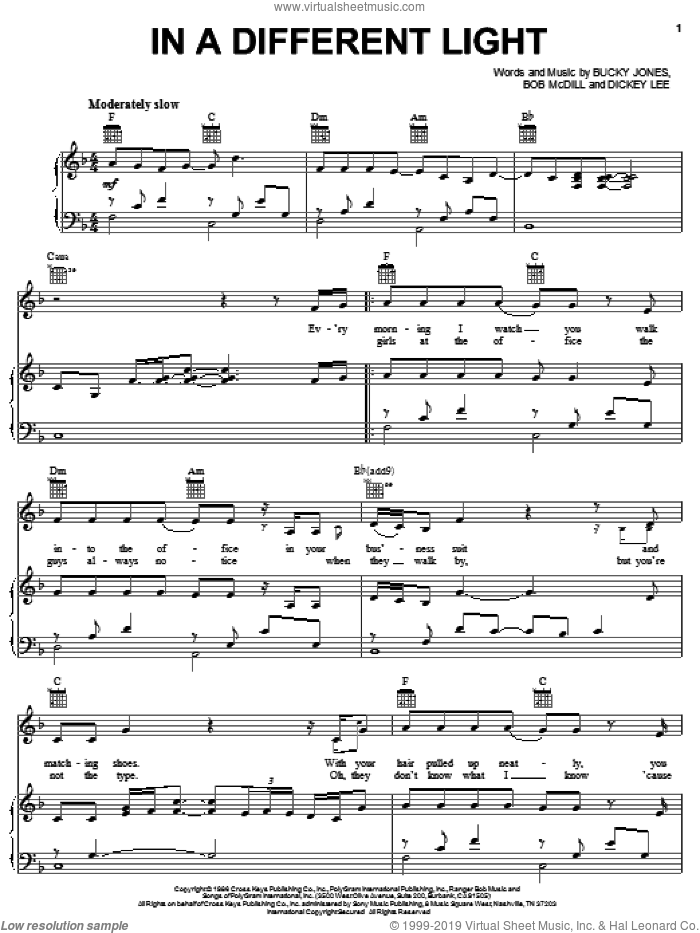 In A Different Light sheet music for voice, piano or guitar by Doug Stone, Bob McDill, Bucky Jones and Dickey Lee, intermediate skill level