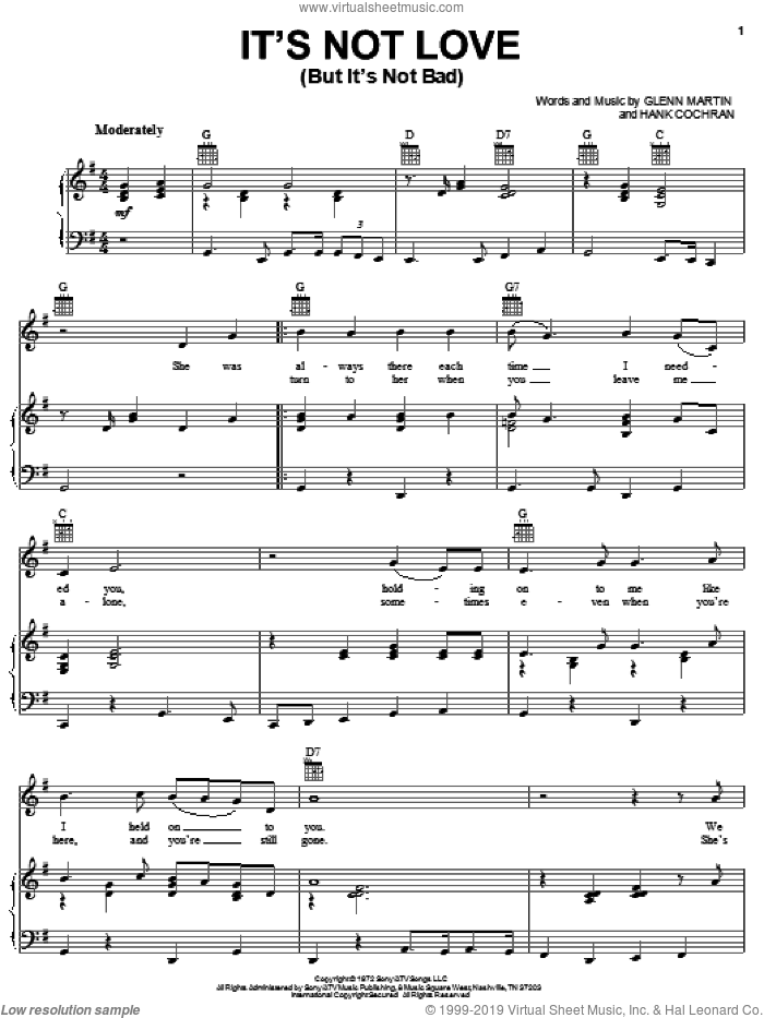 It's Not Love (But It's Not Bad) sheet music for voice, piano or guitar by Merle Haggard, Glenn Martin and Hank Cochran, intermediate skill level
