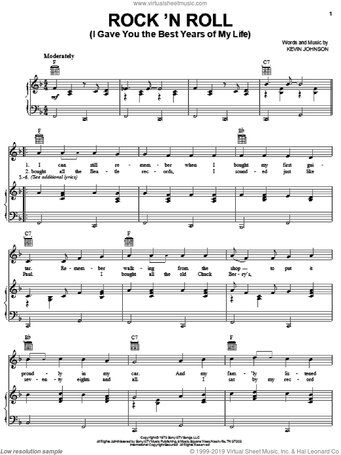Rock 'N Roll (I Gave You The Best Years Of My Life) sheet music for voice, piano or guitar by Mac Davis and Kevin Johnson, intermediate skill level