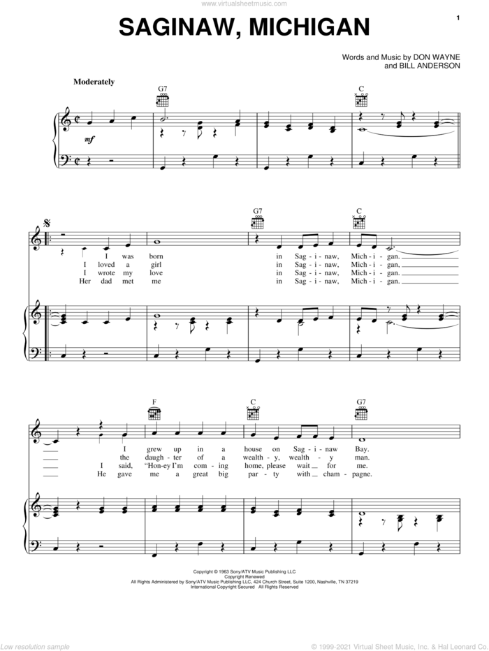 Saginaw, Michigan sheet music for voice, piano or guitar by Lefty Frizzell, Bill Anderson and Don Wayne, intermediate skill level