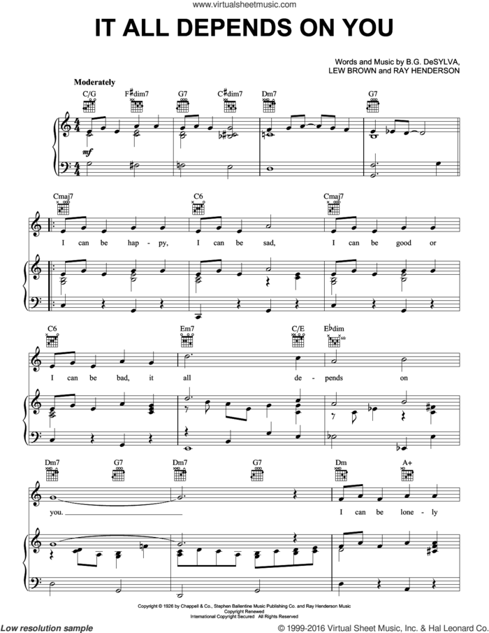 It All Depends On You sheet music for voice, piano or guitar by Frank Sinatra, Buddy DeSylva, Lew Brown and Ray Henderson, intermediate skill level