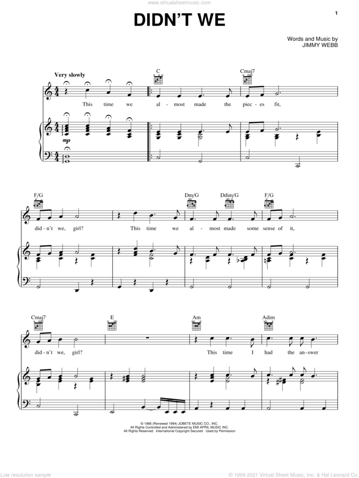 Didn't We sheet music for voice, piano or guitar by Frank Sinatra, Glen Campbell, Matt Monro, Vic Damone and Jimmy Webb, intermediate skill level