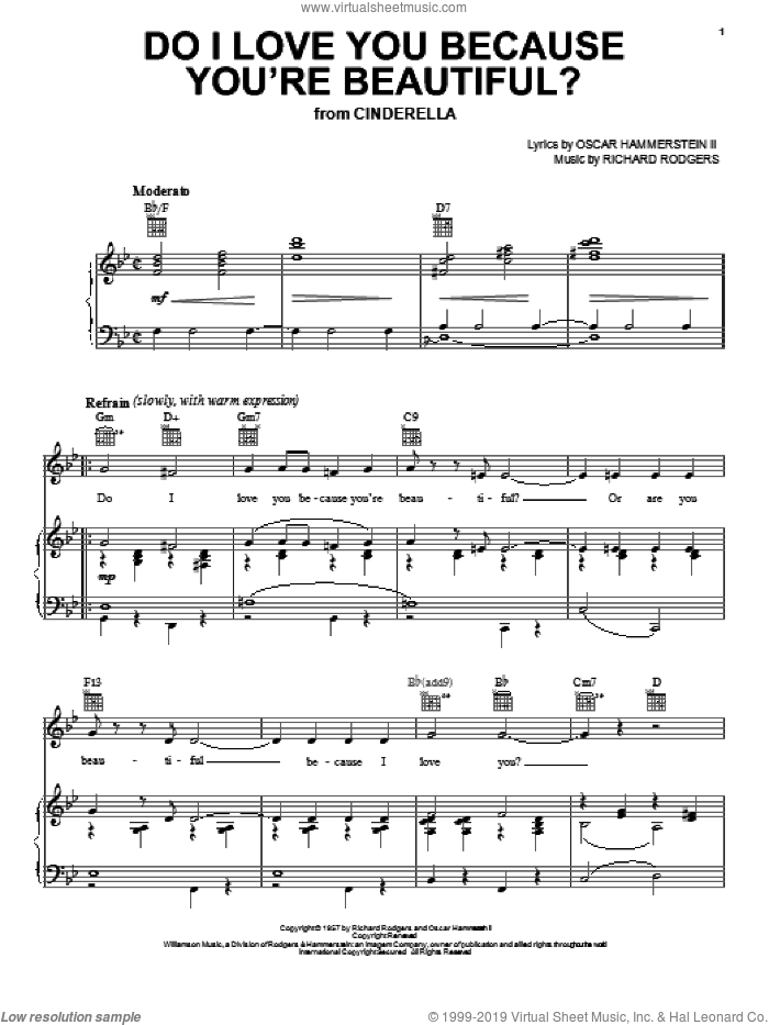 Do I Love You Because You're Beautiful? (from Cinderella) sheet music for voice, piano or guitar by Rodgers & Hammerstein, Cinderella (Musical), Oscar II Hammerstein and Richard Rodgers, wedding score, intermediate skill level