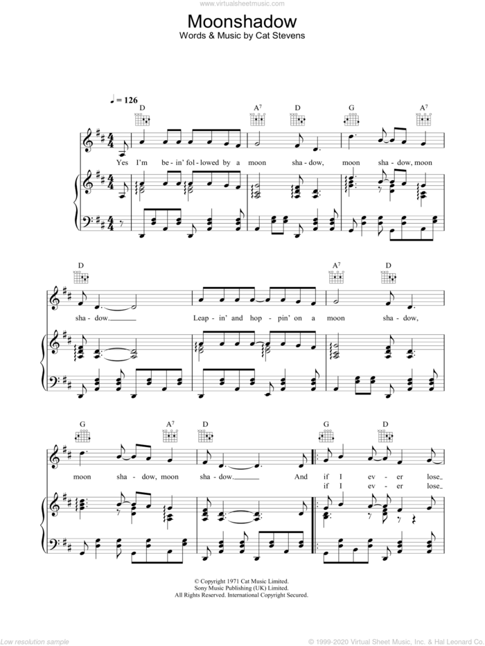 Moonshadow sheet music for voice, piano or guitar by Cat Stevens, intermediate skill level