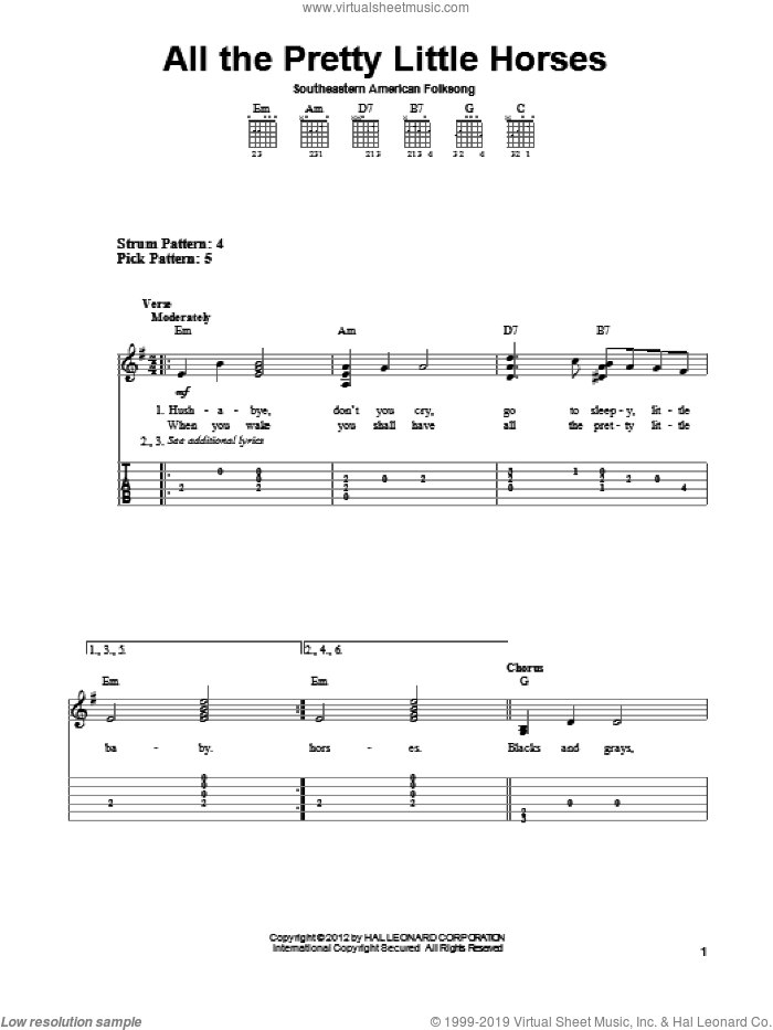 All The Pretty Little Horses sheet music for guitar solo (easy tablature) by Southeastern American Folksong and Miscellaneous, easy guitar (easy tablature)