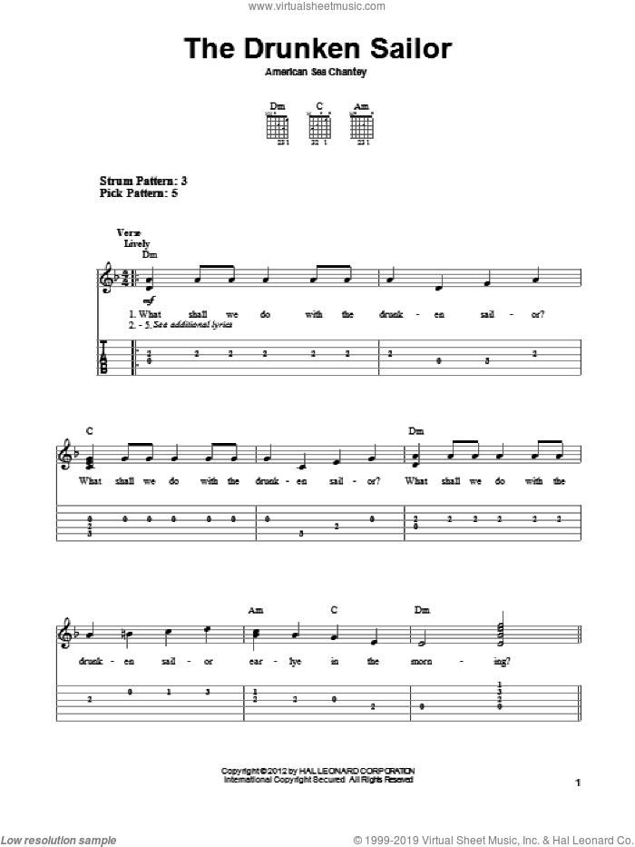 The Drunken Sailor sheet music for guitar solo (easy tablature), easy guitar (easy tablature)