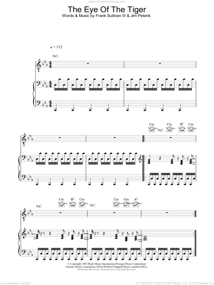 Eye Of The Tiger sheet music for voice, piano or guitar by Survivor, Frank Sullivan and Jim Peterik, intermediate skill level