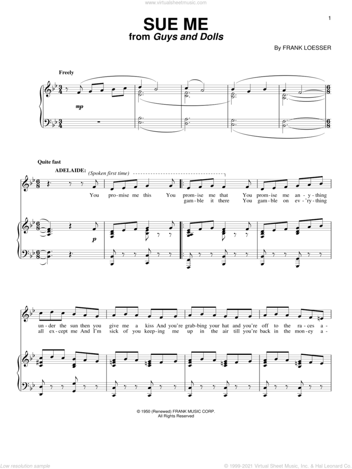 Sue Me sheet music for voice and piano by Frank Loesser and Guys And Dolls (Musical), intermediate skill level