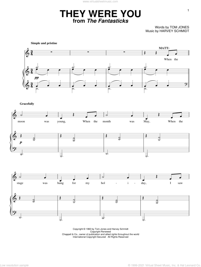 They Were You sheet music for voice and piano by Harvey Schmidt, The Fantasticks (Musical) and Tom Jones, intermediate skill level