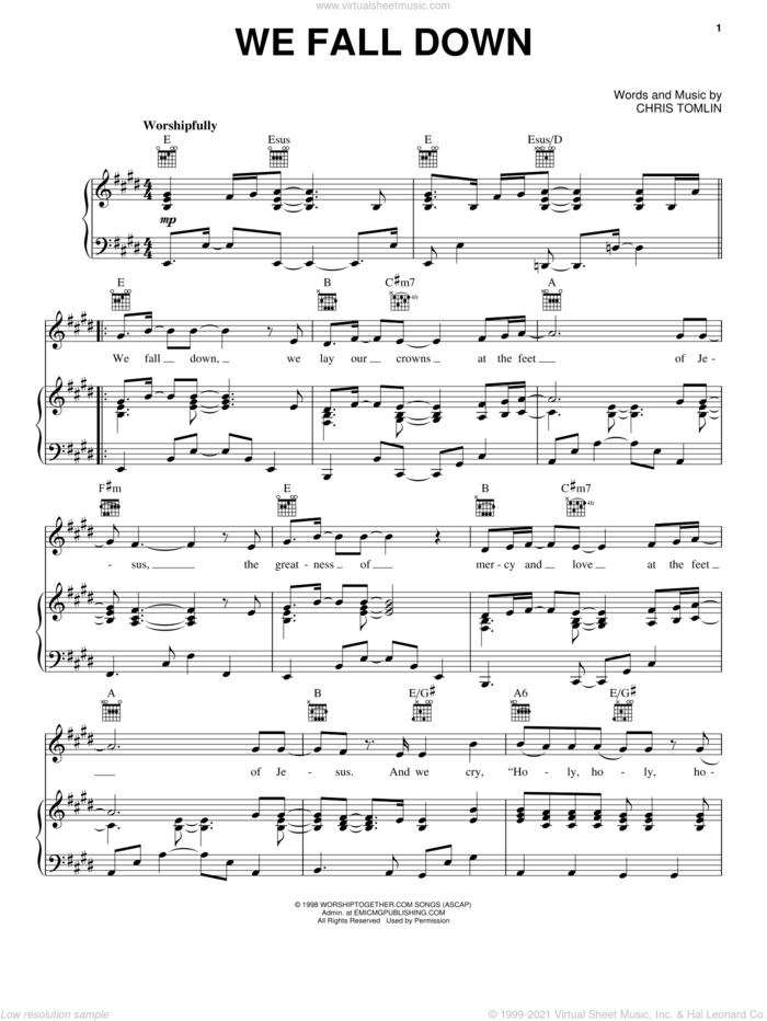 We Fall Down sheet music for voice, piano or guitar by Chris Tomlin and Kutless, intermediate skill level
