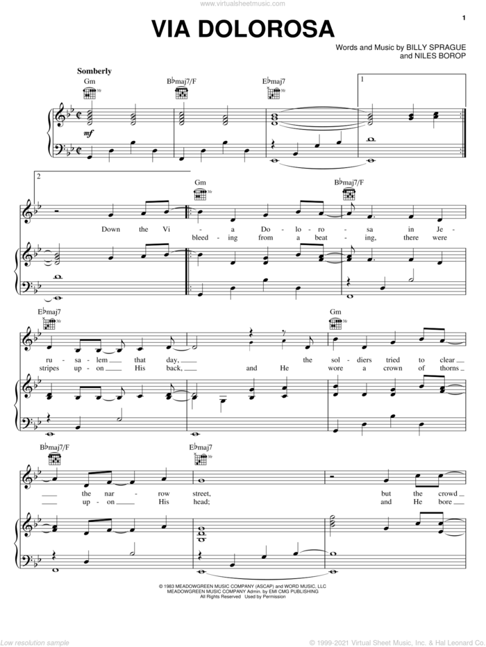 Via Dolorosa sheet music for voice, piano or guitar by Sandi Patty, Billy Sprague and Niles Borop, intermediate skill level